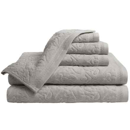 Espalma Mallorca Cotton Velour Bath Towel Set - 6-Piece Set in Silver - Closeouts
