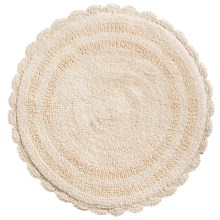 "Espalma Round Crochet Border Bath Rug - Reversible, 24"" in Crème - Overstock"