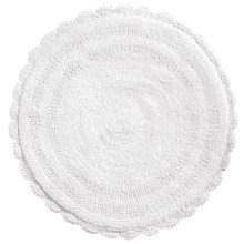 "Espalma Round Crochet Border Bath Rug - Reversible, 24"" in White - Overstock"