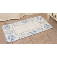 "Espalma Shell Frame Bath Rug - Cotton, Reversible, 21x34"" in Pool Blue - Overstock"