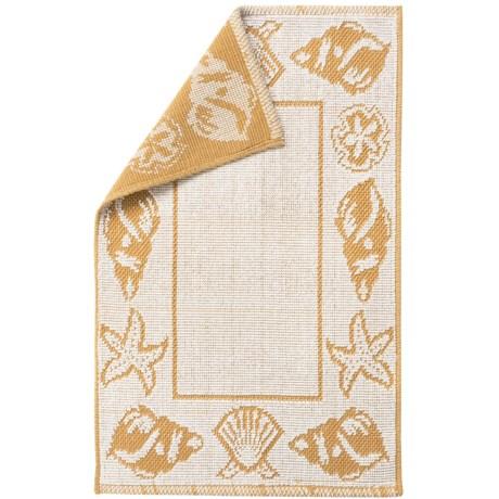 "Espalma Shell Frame Bath Rug - Cotton, Reversible, 21x34"" in Straw"