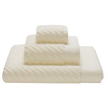 Espalma Spa Sensational Diagonal Stripe Washcloth - Combed Cotton in Ivory - Closeouts