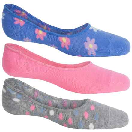 ESPRIT Liner Socks - 3-Pack, Below the Ankle (For Girls) in Denim Flowers/Grey Dots/Pink - Closeouts