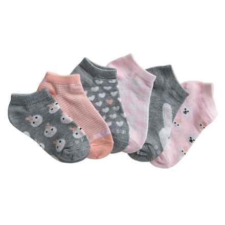 ESPRIT No-Show Socks - 6-Pack, Below the Ankle (For Girls) in Grey Heather/Orange/Pink/Bunny - Overstock
