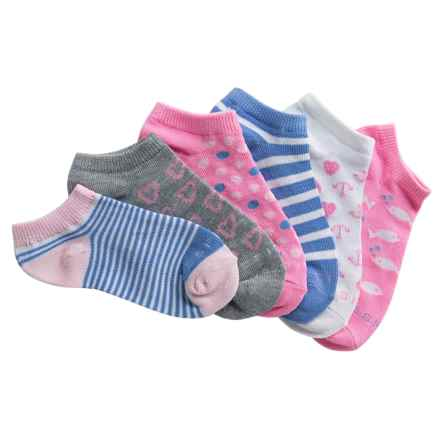 ESPRIT No-Show Socks - 6-Pack, Below the Ankle (For Girls) in White/Pink/Blue/Fish - Overstock