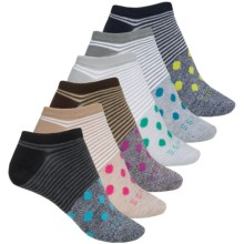 ESPRIT No-Show Socks - 6-Pack, Below the Ankle (For Women) in Black Multi Pin Stripe/Dot - Closeouts