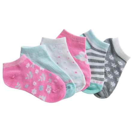 ESPRIT P60 No-Show Socks - 6-Pack, Below the Ankle (For Toddlers) in Pink Lemonade/Blue/Grey/Flowers - Closeouts