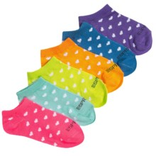 ESPRIT Print No-Show Socks - 6-Pack, Below the Ankle (For Little and Big Girls) in Multi Hearts - Closeouts