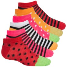 ESPRIT Print No-Show Socks - 6-Pack, Below the Ankle (For Little and Big Girls) in Red Fruit Dots - Closeouts