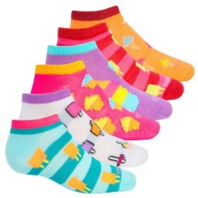 ESPRIT Print No-Show Socks - 6-Pack, Below the Ankle (For Little and Big Girls) in White Ice Cream - Closeouts