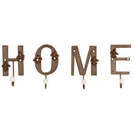 "Esschert Design ""Home"" Cast Iron Single Letter Hooks in Antique Brown - Closeouts"