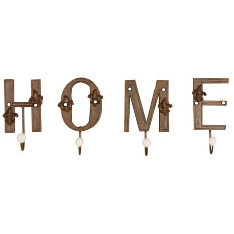 "Esschert Design ""Home"" Cast Iron Single Letter Hooks in Antique Brown"