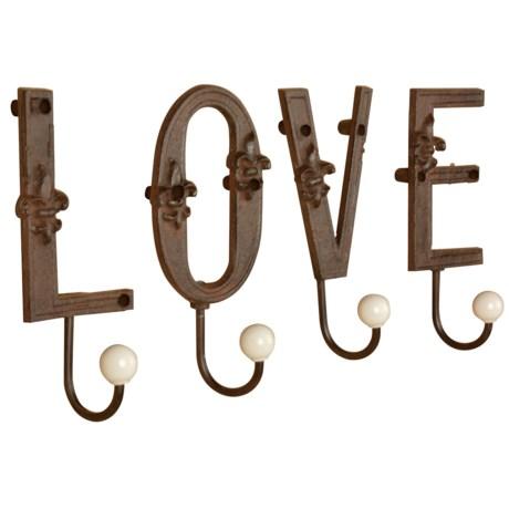 "Esschert Design 7"" Love Letter Hooks - Cast Iron in Antique Brown"