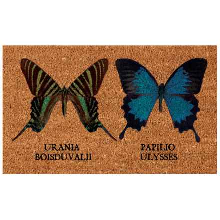 """Esschert Design Butterflies Coir Doormat - 18x30"""" in Natural - Closeouts"""