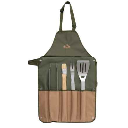 Esschert Design Canvas Barbecue Apron and Grilling Tools Set - 5-Piece in Dark Green/Tan - Closeouts