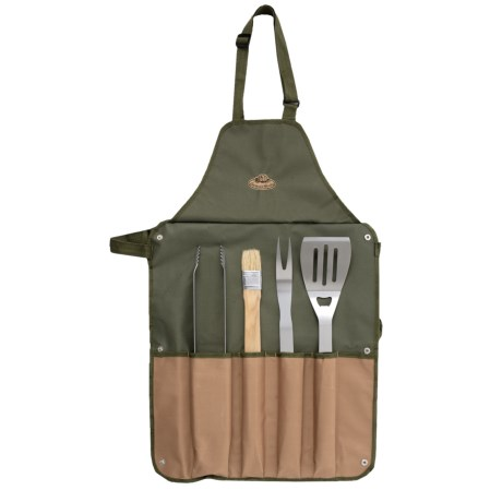Esschert Design Canvas Barbecue Apron and Grilling Tools Set - 5-Piece in Dark Green/Tan