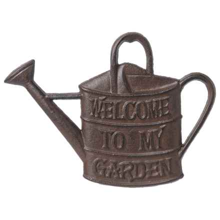 "Esschert Design Cast Iron ""Welcome to My Garden"" Watering Can Sign in Antique Brown - Closeouts"