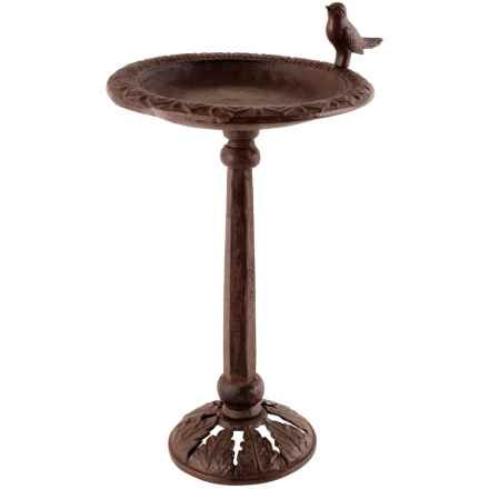 Esschert Design Cast Iron Bird Bath on Stand in Antique Brown - Closeouts