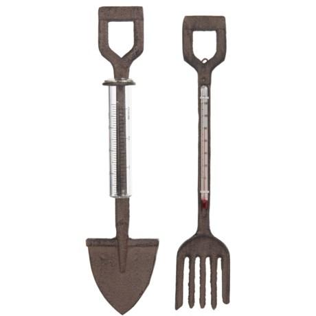 Esschert Design Cast Iron Fork Thermometer and Shovel Rain Gauge - 2-Piece Set in Antique Brown