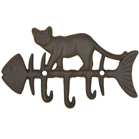 Esschert Design Cat on Fish Triple Wall Hook - Cast Iron in Antique Brown
