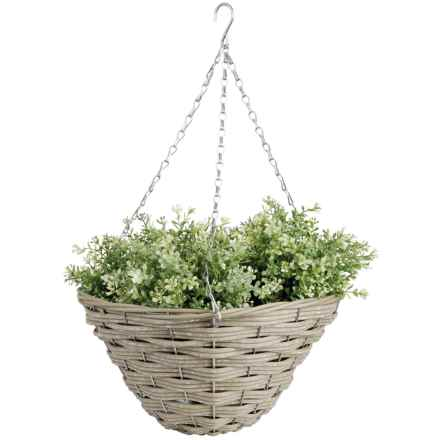"Esschert Design Faux-Wicker Hanging Basket - 14"" in Natural - Closeouts"