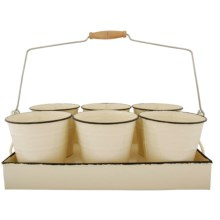Esschert Design Flower Pot Tray - Set of 6 in Cream - Closeouts