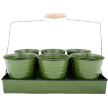 Esschert Design Flower Pot Tray - Set of 6 in Green - Closeouts