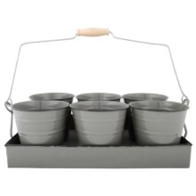 Esschert Design Flower Pot Tray - Set of 6 in Grey - Closeouts