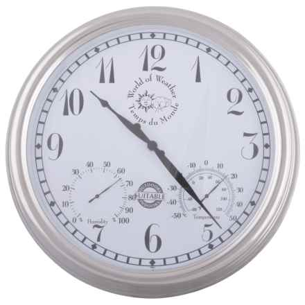 "Esschert Design Metal Outdoor Clock - 15"" in White - Closeouts"