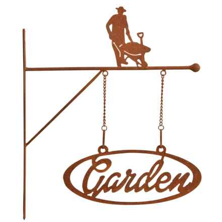 "Esschert Design Rust Metal ""Garden"" Hanging Sign in Wheelbarrow - Closeouts"