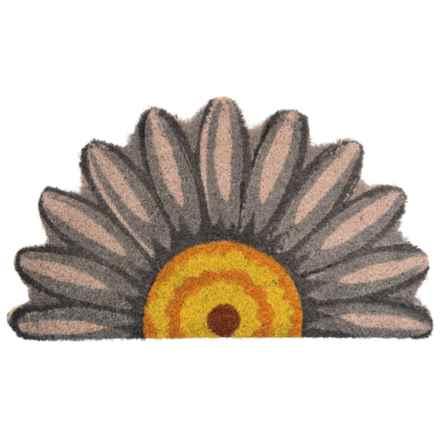 Esschert Design White Daisy Half-Moon Doormat - Coconut Fiber in Cream - Closeouts