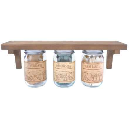 Esschert Design Wood Shelf with Mounted Jars in Natural - Closeouts