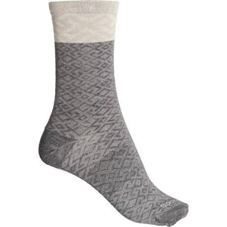 Essential Comfort Mosaic Socks - Merino Wool, Crew (For Women) - CHARCOAL (S/M ) -  Sockwell