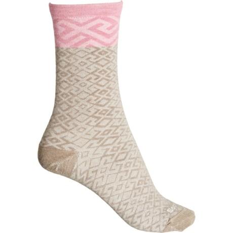 Essential Comfort Mosaic Socks - Merino Wool, Crew (For Women) - KHAKI/PINK (M/L ) -  Sockwell