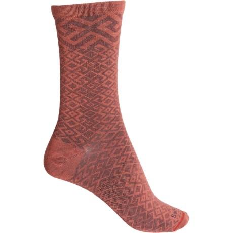 Essential Comfort Mosaic Socks - Merino Wool, Crew (For Women) - RED ROCK (M/L ) -  Sockwell