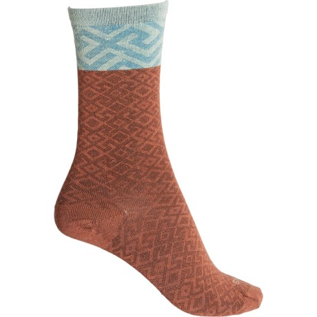 Essential Comfort Mosaic Socks - Merino Wool, Crew (For Women) - TERRACOTTA (S/M ) -  Sockwell