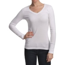 Essential Cotton Jersey Shirt - V-Neck, Long Sleeve (For Women) in White - 2nds