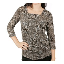 Ethyl Animal Print Shirt - Square Neck, 3/4 Sleeve (For Women) in Multi