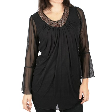 Ethyl Beaded Neckline Tunic Shirt - Flared Long Sleeve (For Women) in Black