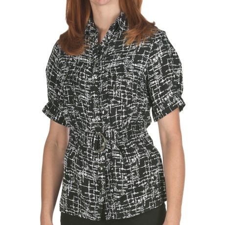 Ethyl Belted Snap-Front Shirt - Short Sleeve (For Women) in Black/White