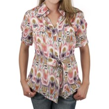 Ethyl Belted Snap-Front Shirt - Short Sleeve (For Women) in Multi - Closeouts