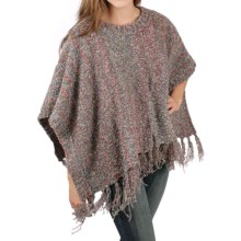 Ethyl Boucle Yarn Fringed Poncho (For Women) in Mulit - Closeouts
