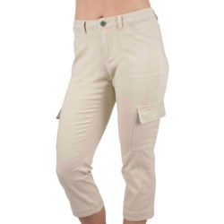 Ethyl Cargo Crop Pants with Mini Rhinestones - Stretch Cotton (For Women) in Tan/Silver