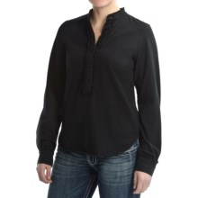 Ethyl Cotton Knit Shirt - Ruffled, Long Sleeve (For Women) in Black - Closeouts