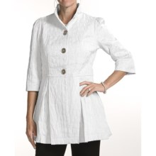 Ethyl Crinkled Coat - 3/4 Sleeve (For Women) in White - Closeouts