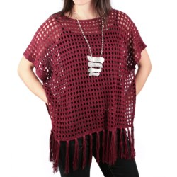 Ethyl Crocheted Fringe Poncho - Sleeveless (For Women) in Burgandy