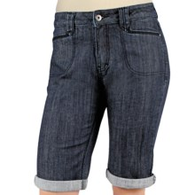 Ethyl Denim Bermuda Shorts - Rolled Cuffs (For Women) in Dark Wash - Closeouts