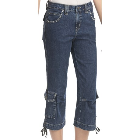 Ethyl Denim Blingy Cargo Capris (For Women) in Med Denim