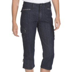Ethyl Denim Cargo Bling Capris (For Women) in Rain