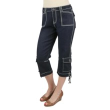 Ethyl Denim Cargo Capris - Side Ties (For Women) in Med Denim - Closeouts